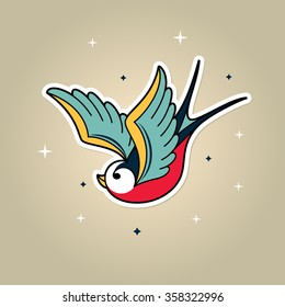 Old School Tattoo swallow. Sparrow tattoo in Old school style. Retro rockabilly tattoo bird character. Tattoo bird vector sparrow. Old school swallow bird. Retro bird tattoo. Bird vector tattoo design