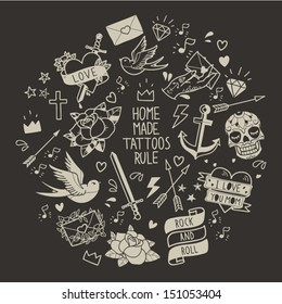 Old school tattoo vector elements. Cartoon tattoos  in funny style: anchor, dagger, skull, flower, star, heart, diamond, scull and swallow
