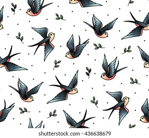 Old school tattoo vector seamless pattern with swallows, twig heart. Valentine's Day or wedding designs. Print Fabric, bag, books.