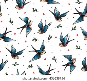 Old school tattoo vector seamless pattern with swallows, twig, heart. Valentine's Day or wedding designs. Cover for notebook or phone.