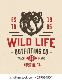 Old School textured t shirt graphics apparel fashion print. Retro typographic badge design. Wild Life Outfitting company. Vintage americana style. Vector Illustration.