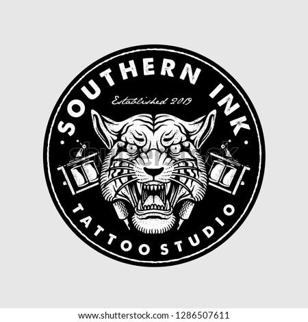 Old School Tiger Tattoo Machine Logo Stock Vector (Royalty Free ...