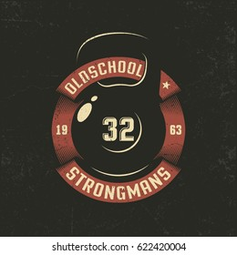 Old school weight with a circular ribbon - Logo template for retro gym. Grunge texture on separate layers and can be easily disabled.