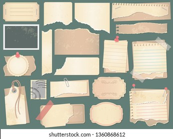 Old scrapbook paper. Crumpled papers pages, vintage scrapbooks papers and retro photo book scraps. Paper scrap, antique notice or grunge craft memo page. Vector isolated symbols illustration set