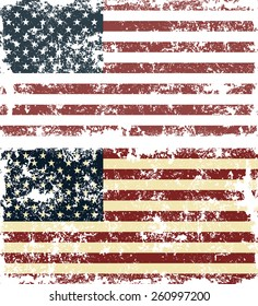 Old scratched flag. Vector illustration of vintage USA flag