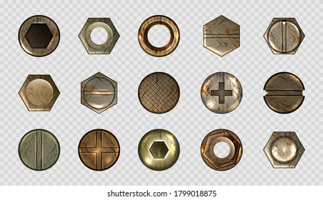 Old screw and nail heads, steel metal bolts, rusty rivets hardware. Round and hexagon copper or brass caps top view isolated on transparent background. Realistic 3d vector illustration, icons set