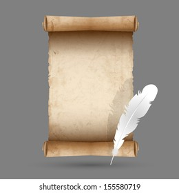 Old scroll paper with feather. Vector EPS10