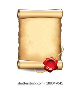 Old scroll with wax seal isolated vector illustration