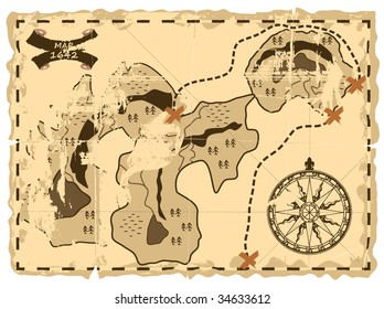 Old sea map of the island of treasures.