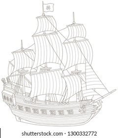Old sea pirate sailing ship with guns and a flag of Jolly Roger with bones on a main mast, black and white vector illustration in a cartoon style for a coloring book