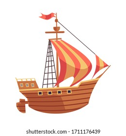Old sea ship with sails and wooden desk or sailboat flat vector illustration isolated on white background. Vintage mast vessel and pirate galleon icon or symbol.