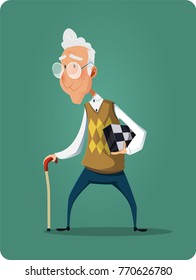 Old senior man in glasses standing and holds chessboard. Flat style modern vector illustration. Old age and pension, leisure concept.