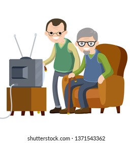 Old Senior man sitting to the couch and watching TV. Hobbies and pastime oldster. Two grandfathers with a beard and glasses in a nursing home. Lifestyle of grandpa. Cartoon flat illustration