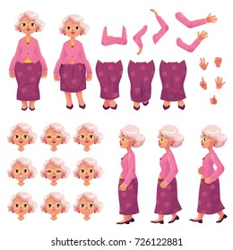 Old, senior woman character creation set with different poses, gestures, emotions, cartoon vector illustration on white background. Animation ready old lady, senior woman creation set, constructor