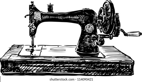 Manual Sewing Machine With Parts Stock Vectors Images Vector Art Custom Parts Of A Manual Sewing Machine