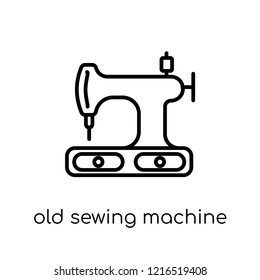 old sewing machine icon. Trendy modern flat linear vector old sewing machine icon on white background from thin line Sew collection, outline vector illustration