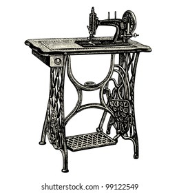 Old Sewing Machine - vintage engraved illustration - Catalog of a French department store - Paris 1909