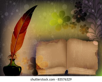 Old shabby book, feather and inkwell on a floral background