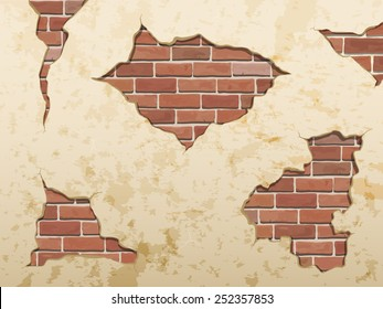 The old shabby concrete and brick cracks. Separate elements wall decor. Vector set.