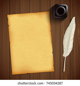 Old sheet of paper for writing and feather with an inkwell on a wooden table. Vintage retro style background. Stock vector illustration.