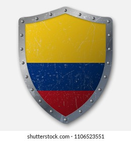 Old Shield with Flag of Colombia. vector illustration