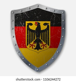 Old Shield with Flag of Germany. vector illustration