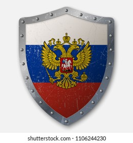 Old Shield with Flag of Russia. vector illustration