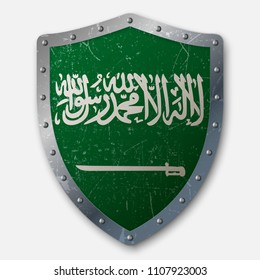 Old Shield with Flag of Saudi Arabia. vector illustration