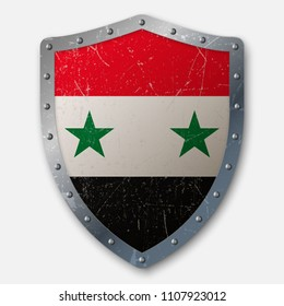 Old Shield with Flag of Syria. vector illustration