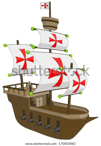 Old Ship - Frigate/Galleon -  Vector Artwork (isolated on white background).