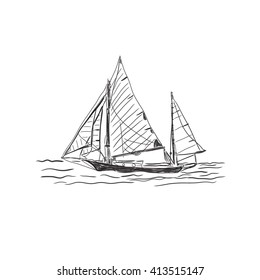 old ship isolated on white background, sketch, vector illustration