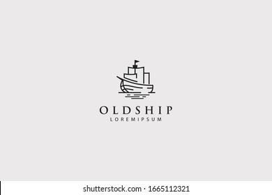 old ship logo, fishing boat icon line art brand