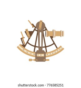 Old ship sextant. Vector illustration in a flat style.