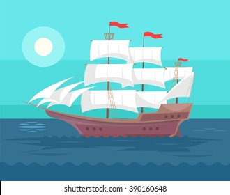 Old ship. Vector flat cartoon illustration