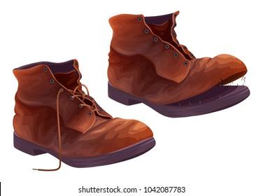 Old shoes vector illustration