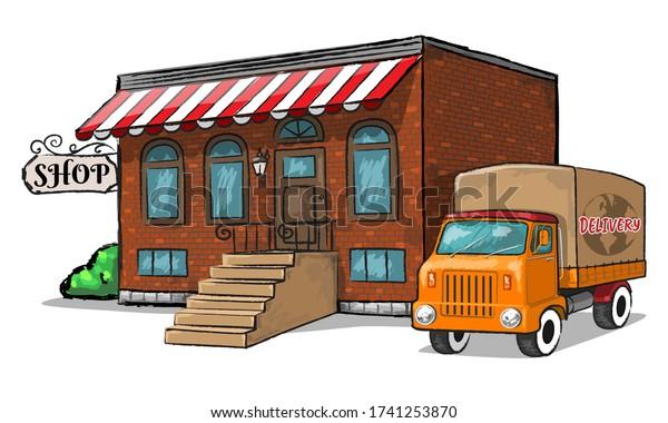 Old shop with vintage delivery car. Vector Illustration.