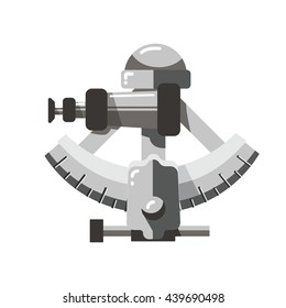 Old silver sextant, old fashion Sailing Instrument vector illustration.