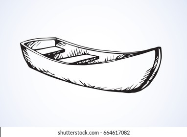 Old simple empty rough ski skiff on white backdrop. Freehand linear black ink hand drawn picture logo sketchy in art vintage scribble cartoon style pen on paper. Side view with space for text on sky