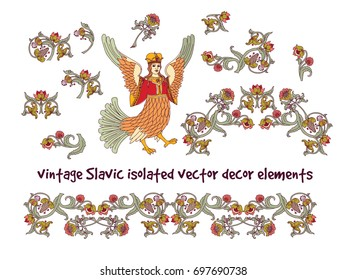 Old Slavic vintage decor elements set isolate on white. Color vector illustration. EPS8