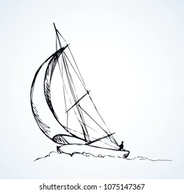 Old small ski keel isolated on white sky background. Jib shallop picture.  Freehand line black ink hand drawn logo sketchy in art retro doodle cartoon style pen on paper. Side view with space for text
