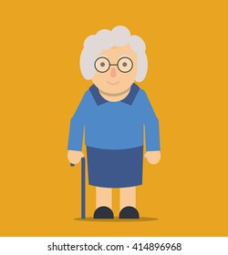 Old smiling lady with cane, standing alone. Grandma walking. Old woman  character on yellow background