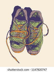 Old Sneakers. engraving style. vector illustration.