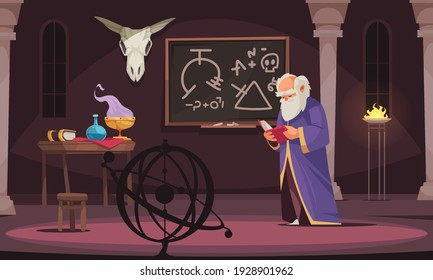 Old sorcerer reading alchemy book in room with board animal skull table with alchemic tools cartoon vector illustration