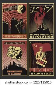 Old Soviet Communism Propaganda Posters Stylization