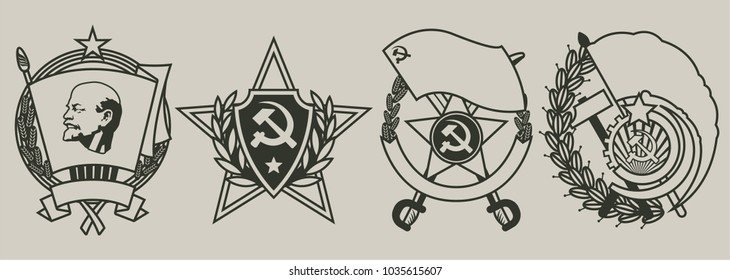 Old Soviet Military Orders, Decorations and Medals Stylization