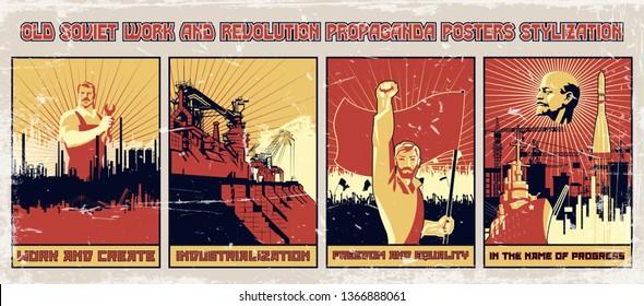 Old Soviet Work and Revolution Propaganda Posters Imitation, Grunge Texture
