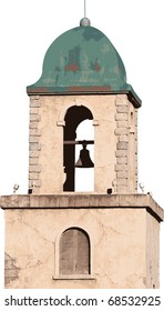 Old Spanish style stucco building with a bell tower