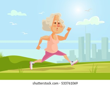 Old sport woman character running. Healthy lifestyle. Vector flat cartoon illustration