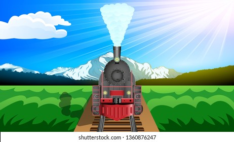 Old steam Locomotive, front view. Beautiful mountain landscape, snowy peaks, green valley, Sunny day, Blue sky. Realistic horizontal banner vector.