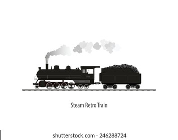 Old steam locomotive isolated on white , Vector illustration